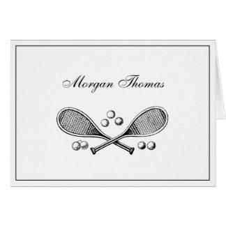 Cartão Bolas de tênis cruzadas vintage da raquete de