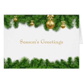 Cartão Bolas do Natal do ouro da festão do pinho do Natal