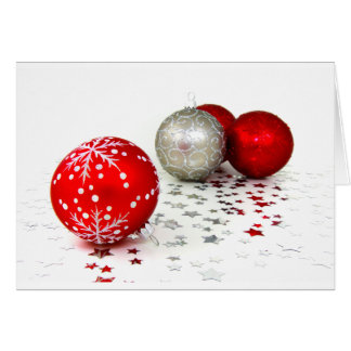 Cartão Bolas vermelhas e de prata da decoração do Natal