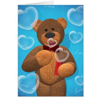 Cartão Bolhas de sopro do coração do urso Dinky