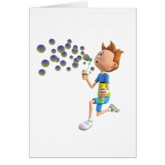 Cartão Bolhas de sopro do menino dos desenhos animados