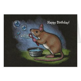 Cartão Bolhas de sopro do rato: Lápis da cor: Aniversário