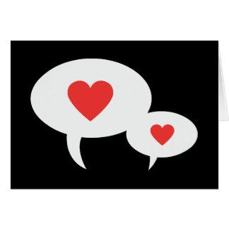 Cartão Bolhas vermelhas do discurso do coração da