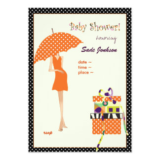 Cartão Bolinhas ancas da laranja do chuveiro do Mama bebê