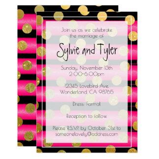 Cartão Bolinhas cor-de-rosa e pretas brilhantes do ouro