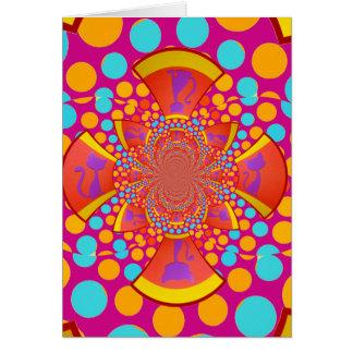 Cartão Bolinhas da cerceta do rosa do caleidoscópio do
