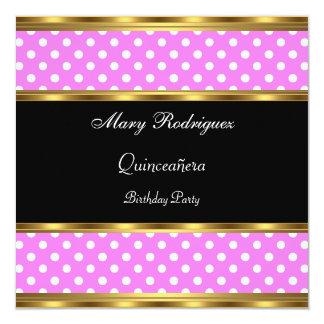 Cartão Bolinhas do rosa do partido de Quinceañera