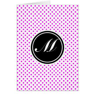 Cartão Bolinhas e monograma magentas