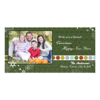 Cartão Bolinhas & foto modernas do Natal dos flocos de