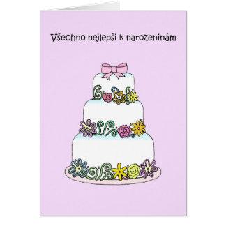 Cartão Bolo à moda do aniversário checo
