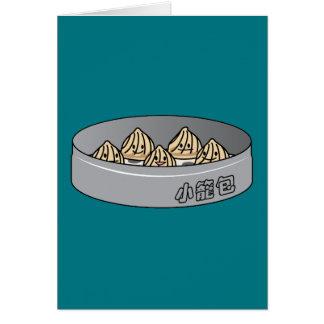 Cartão Bolo chinês de Dim Sum da bolinha de massa da sopa
