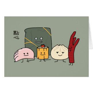 Cartão Bolo chinês dos bolos da bolinha de massa de Bao