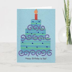 Cartão Bolo de aniversário azul do redemoinho 7e7806d23bf67