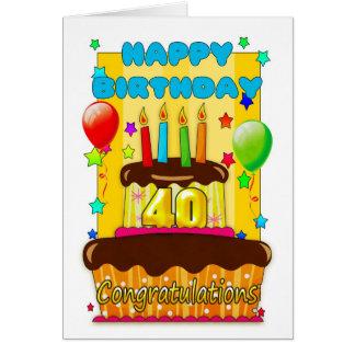 Cartão bolo de aniversário com velas - aniversário de 40