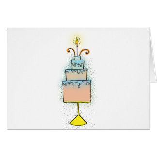 Cartão Bolo de ANIVERSÁRIO com velas twirly encaracolado