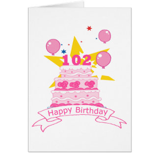 Cartão Bolo de aniversário das pessoas de 102 anos
