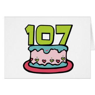 Cartão Bolo de aniversário das pessoas de 107 anos