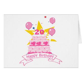 Cartão Bolo de aniversário das pessoas de 20 anos