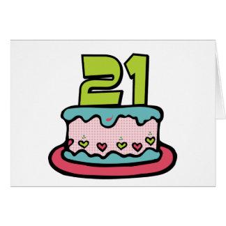 Cartão Bolo de aniversário das pessoas de 21 anos