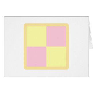 Cartão Bolo de Battenburg. Rosa e amarelo