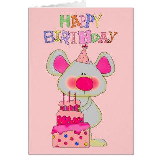 Cartão Bolo do rato do feliz aniversario das meninas do