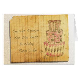 Cartão Bolo do rum do aniversário