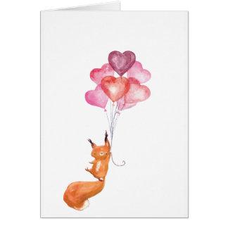 Cartão Bolota Supercute da aguarela com balões do coração