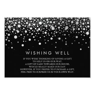 Cartão bom de desejo preto dos confetes da folha