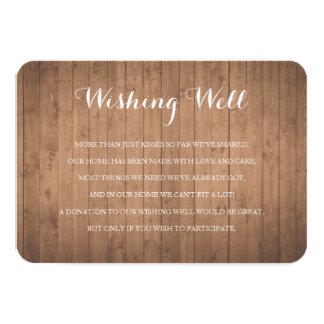 Cartão bom de desejo rústico de madeira da
