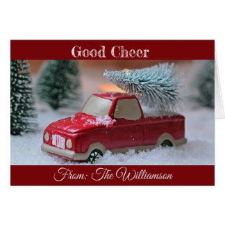 Cartão Bom elogio com caminhão e pinheiro na parte