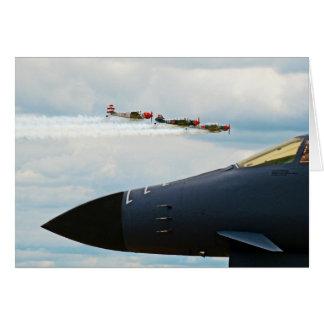 Cartão Bombardeiro B-1 e lutadores de WWII