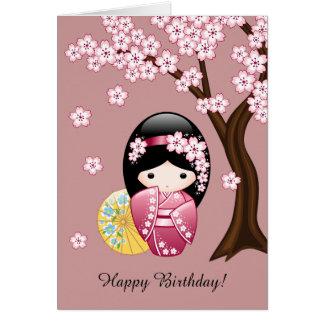 Cartão Boneca de Kokeshi do primavera - aniversário