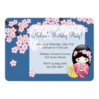 Cartão Boneca de Kokeshi do primavera - festa de