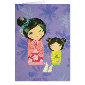 Cartão Boneca de Kokeshi - o amor liga-nos junto