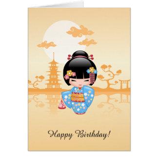 Cartão Boneca de Maiko Kokeshi - aniversário bonito da