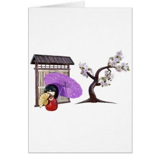 Cartão Boneca de Sakura com a árvore da parede e de