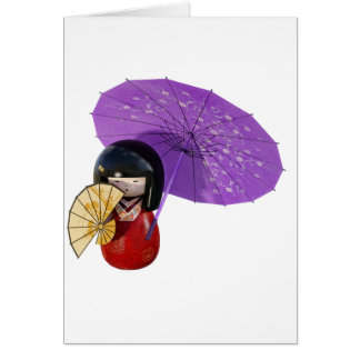Cartão Boneca de Sakura com guarda-chuva