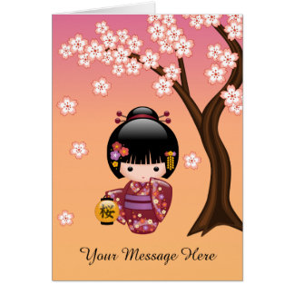 Cartão Boneca de Sakura Kokeshi - menina de gueixa no