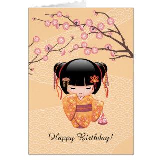 Cartão Boneca de Ume Kokeshi - aniversário japonês da