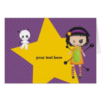 Cartão Boneca do Voodoo - escolha a cor do fundo