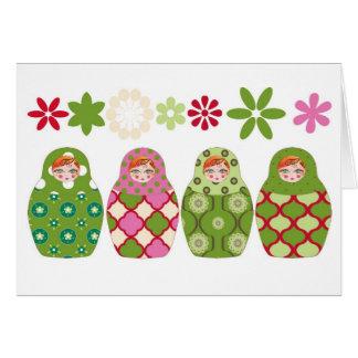 Cartão boneca russa verde