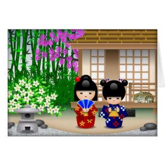 Cartão Bonecas e Teahouse de Kokeshi