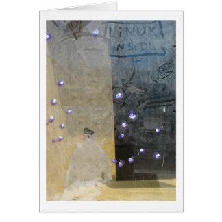 Cartão boneco de neve através de uma janela