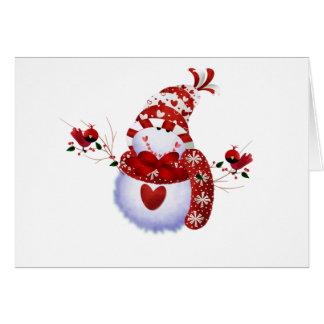 Cartão Boneco de neve bonito da baga