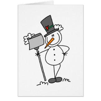 Cartão Boneco de neve com pá