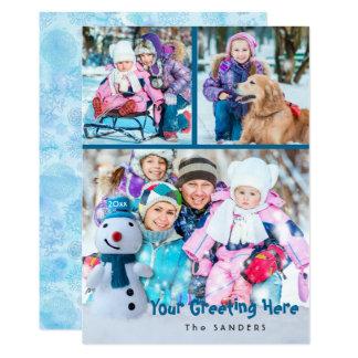 Cartão Boneco de neve, cumprimento pessoal com três fotos