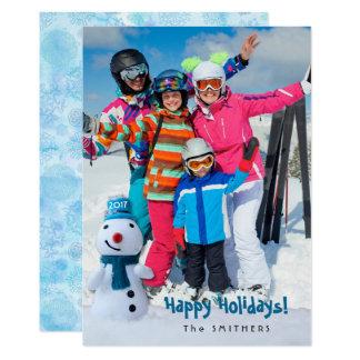 Cartão Boneco de neve, cumprimento pessoal com uma foto