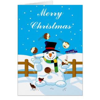 Cartão Boneco de neve de mnanipulação