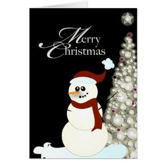 Cartão Boneco de neve de PixDezines/árvore de Natal de