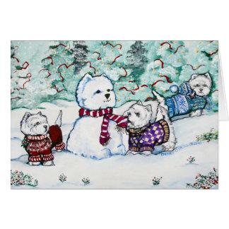 Cartão Boneco de neve de Westie